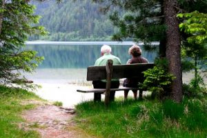 peopel sitting on a bench near lake